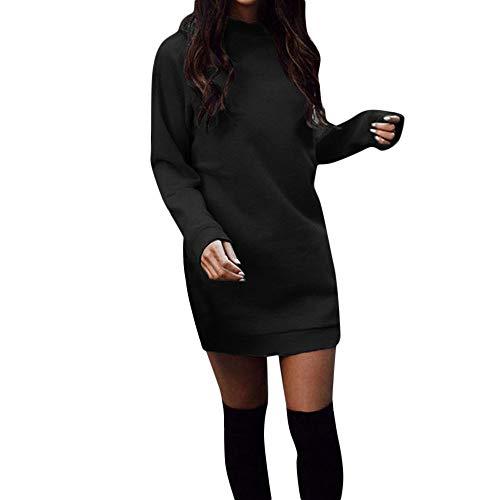 GIFC  Clearance Fashion Women Winter Warm Round Neck Long Sleeve Mini Dress Party Sweatshirt Dresses