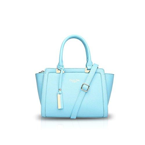 NICOLE&DORIS Nuevo Moda Mujer Bolso de Crossbody Tote Bolsa de Hombro Señoras Mensajero PU Gris Azul