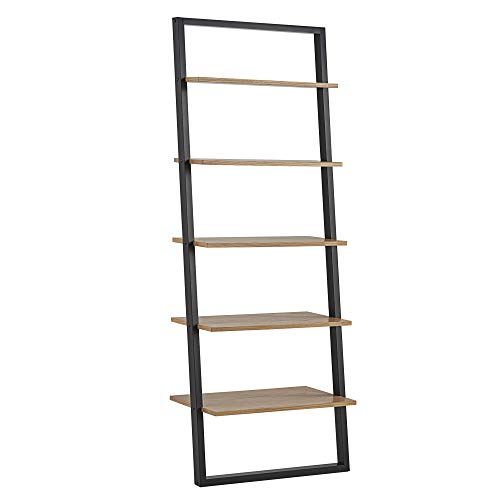 Union 5 Home Fredrikstad Modern Two-Tone Leaning Ladder Bookshelf – Black Oak
