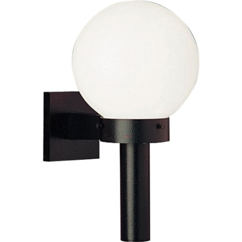 Brass Porcelain Sconce (Progress Lighting P5626-60 Cast Wall Torch with 8-Inch Acrylic Globe, Black)