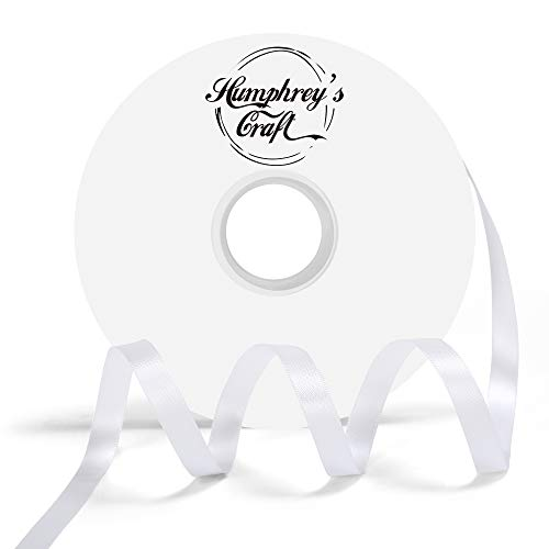 Humphrey's Craft 3/8-inch Double Face Solid Satin Ribbon 100% Polyester Ribbon Roll-50 Yard (Off White)