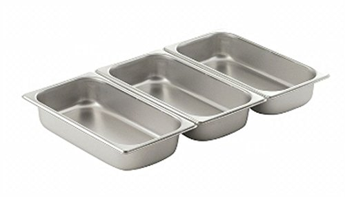 [Premier Choice 3 Pack 1/3 Size Chafer Food Pan Stainless Steel Steam Table / Hotel Pan - 2 1/2