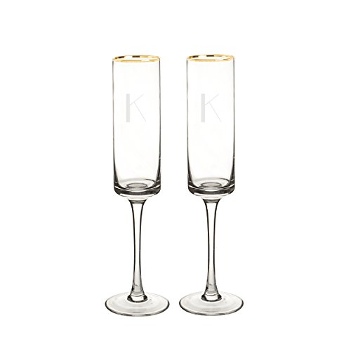 Cathy's Concepts 3668G-K Personalized Gold Rim Champagne Flutes (Set of 2), Clear ()