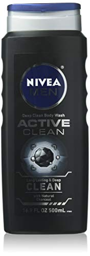 NIVEA FOR MEN Body Wash Active Clean 16.9 oz (Pack of 2)