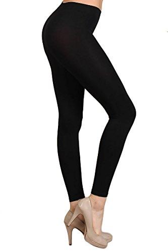 Nylon Opaque Leggings (World of Leggings Premium Basic Nylon Spandex Leggings Black)