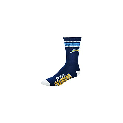 NFL 4 Stripe Deuce Crew Socks Mens-San Diego Chargers-Size Large(10-13) by Fore Bare Feet