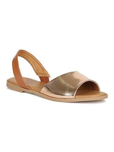 - Alrisco Women Open Toe Slingback Flat Sandal RH41 - Rose Gold Metallic (Size: 10)