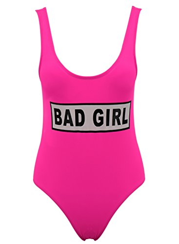 Bad Scoop Achicgirl Fuchsia Piece Graphic Swimsuit Neck Girl One Women's Letter pnXRfqwa5