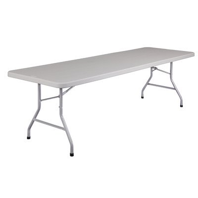 National Public Seating BT3000 Series Steel Frame Rectangular Blow Molded Plastic Top Folding Table, 800 lbs Capacity, 96'' Length x 30'' Width x 29-1/2'' Height, Speckled Gray/Gray by NPS