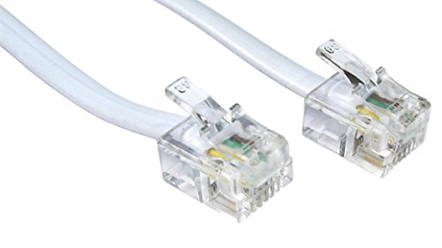 rhinocables RJ11 ADSL Cable Premium Quality Lead High Speed Male BT Internet Broadband Modem Router Telephone Wire 49 feet 3inch (50ft, White)