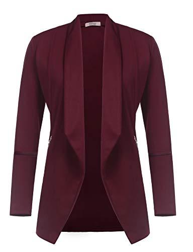 Zeagoo Women's Boyfriend Office Blazer Work Suits Lightweight Jacket Business Blazer Wine Red/XXL