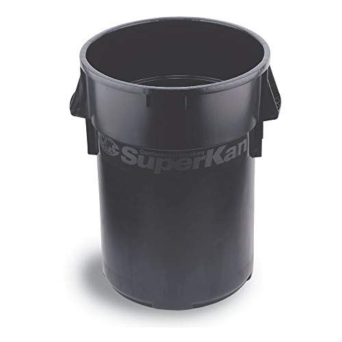 Continental Round Trash Can - Continental 4442BK 44-Gallon Huskee SuperKan Material Handler Waste Receptacle, Round, Black