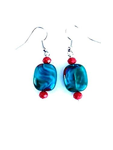 (Teal Glass Bead Earrings in Swirl Pattern)