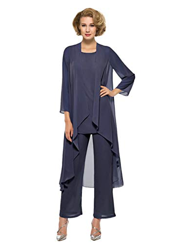 Annxrose Women's Loose 3 Pieces 3/4 Sleeve Chiffon Mother of The Bride Pantsuits Jumpsuits Rompers Size 22 Navy