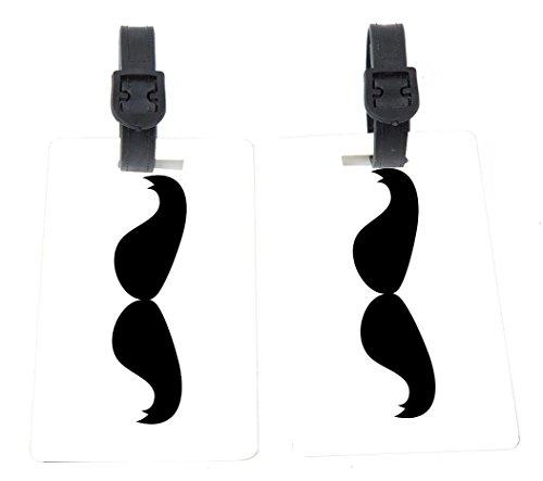 Hercule Poirot Mustache Design Plastic Flexi Luggage Identifier Tags + Strap Closure -