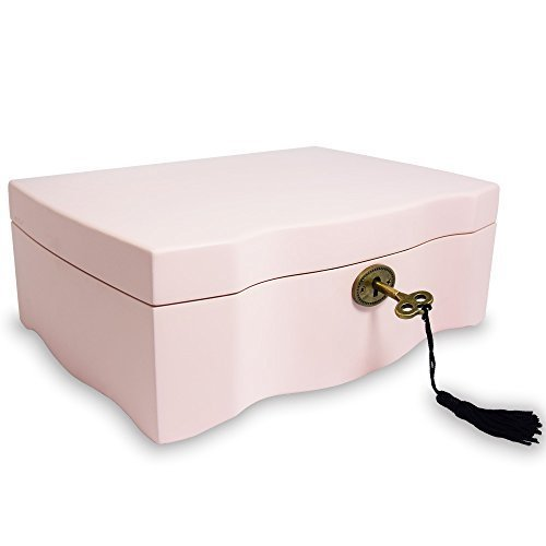 Ikee Design Premium Wooden Pink Musical Jewelry Box Organizer Storage with Lock and - Musical Key