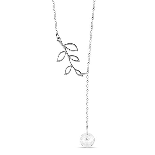 925 Sterling Silver Tree Branch Lariat Necklace, Twig Pendant Y Necklace Lariat w CZ, Solid Silver Branch Necklace, Branch Pendant Twig Necklace, Simple Leaf Necklace
