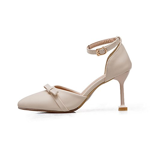 Womens Pumps Shoes Toe BalaMasa ASL04230 Metal Pointed Bows Urethane Beige Buckles FwHRq