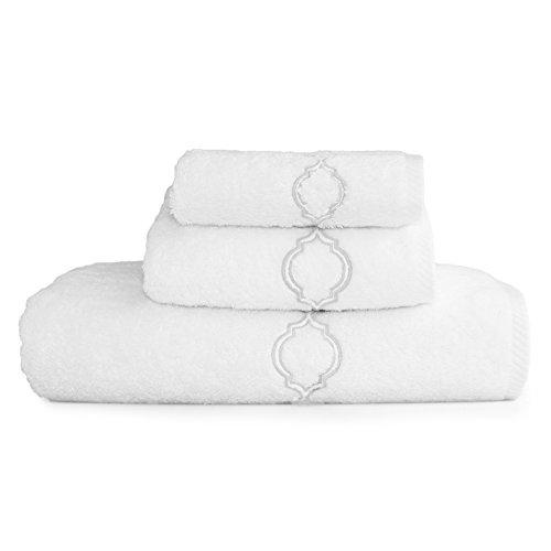 (Linum Home Textiles 3 Piece Soft Twist Trellis Premium Authentic Soft 100% Turkish Cotton Luxury Hotel Collection Towel Set, White/Silver)