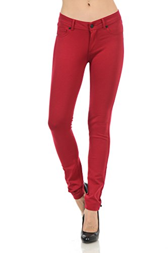 (YourStyle Stretchy Slim Fit Skinny Long Jegging Pants (Medium, Dark Red))