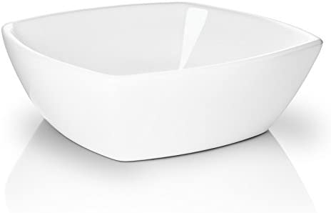 Miligore 16 x 16 Flared Square White Ceramic Vessel Sink – Modern Above Counter Bathroom Vanity Bowl