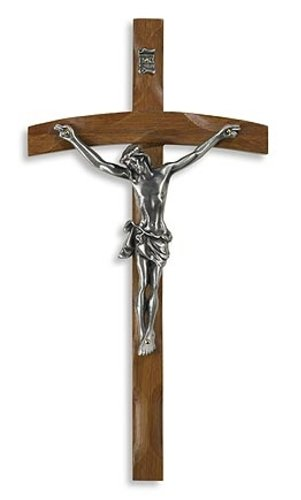 - Large Home Chapel Decoration 11 3/4 Inch Wood Silver Corpus Jesus Christ Papal Cross Wall Crucifix