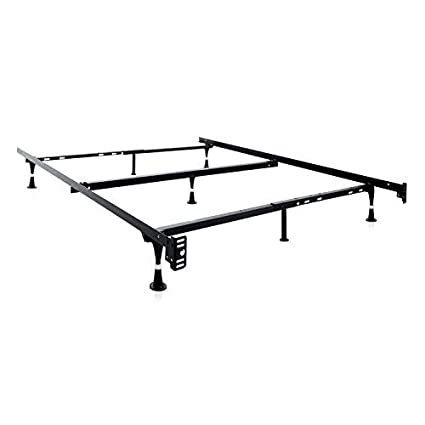 MALOUF STRUCTURES Heavy Duty Adjustable Metal Bed Frame With 7 Legs, Center  Support And Glides