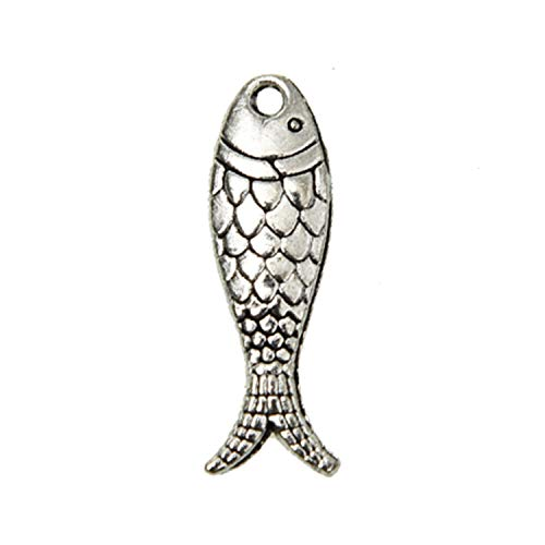 (Monrocco 60Pcs Antique Silver Alloy Fish Charms Sea Animal Charms Pendant Ocean Fish Charm Jewelry Findings for Jewelry Making Necklace Bracelet 23.5x7mm)