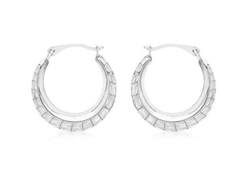 Boucles d'oreilles créoles or blanc 9carats Motif Maximus