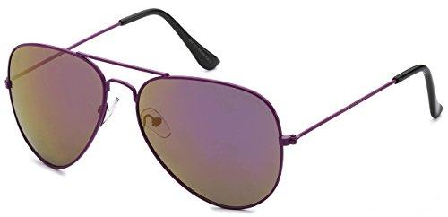 Classic Aviator Sunglasses Purple Metal Frame Smoke Mirror Lens ()