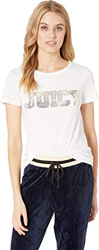 Tee Ladies Logo (Juicy Couture Women's Juicy Sequins Logo Tee Bright White Small)