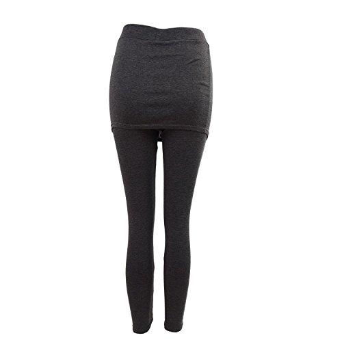 SODIAL(R) Hot Femmes Automne Hiver Jupe Jambieres Coton Pantalon Plisse Collants Extensible Gris