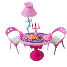 BUNITA,1 set Vintage Table Chairs For Dolls Furniture Dining Sets Toys For Girl Kid Pink For Barbie ,Dollhouse (Ann Arbor Halloween City)
