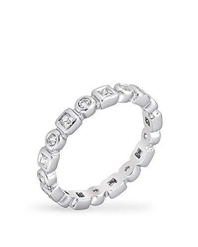 Rhodium Plated Eternity Ring with Alternating Bezel Set Round Cut and Princess Cut Clear CZ Size 5
