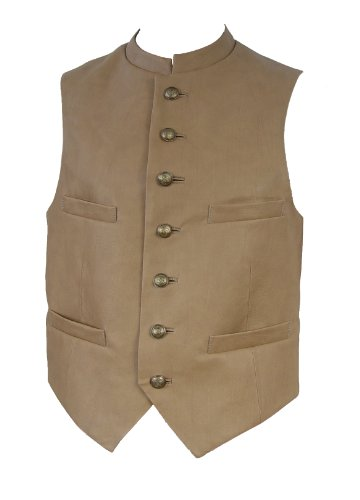 Mens 10311 Lambskin Leather Vest Four Pocket China Collar (XL... by NETTAILOR