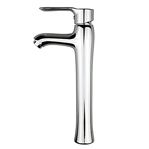 Seafulee Faucet Modern Curve Spout Single Handle Deck Mounted Bathroom Vessel Sink Faucet, Polished - Deck Mounted Electronic Faucet