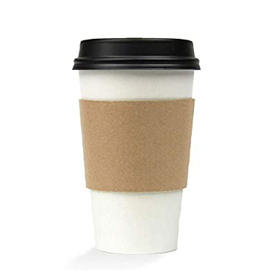 [50 Pack] 12 16 20 Ounce Hot Beverage Disposable White Paper Coffee Cup with Black Dome Lid and Kraft Sleeve Combo, Small Medium Large