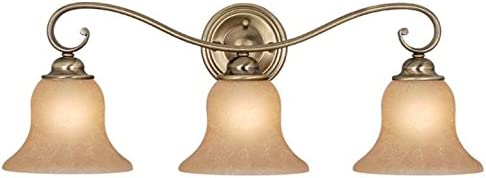 Vaxcel USA VL35473AC Monrovia 3 Light Bathroom Vanity Lighting Fixture in Brass, Glass
