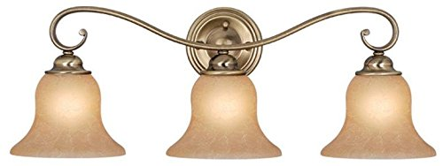 Vaxcel USA VL35473AC Monrovia 3 Light Bathroom Vanity Lighting Fixture in Brass, Glass