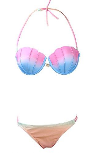 Greatgorgeous Women's Halter Neck Bandeau Padded Seashell Bikini Set,Pink,S