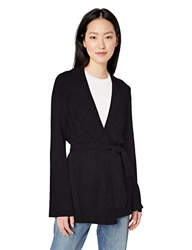 Tie Front Wool Sweater - Amazon Brand - Daily Ritual Women's Long-Line Open-Front Cardigan Sweater, black, Large