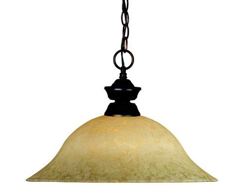 (Z-Lite 100701OB-GM16 One Light Pendant, Metal Frame, Olde Bronze Finish and Golden Mottle Shade of Glass Material)