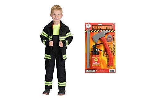 Black Jr Firefighter Helmet - Jr. Firefighter Suit Black Size 4/6 and Firefighter Accessory Bundle Set