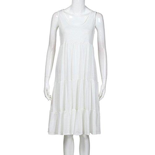 Kleid Sommerkleid Solike Damen Baumwolle Strandkleid Ärmellos Einfarbig Weiß Rundhals Knielang