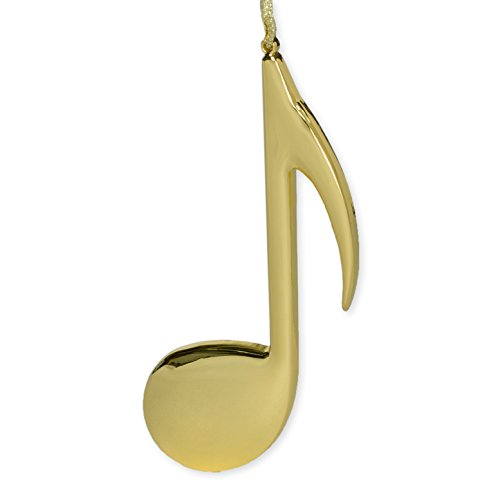 Eighth Gold Note (Gold Eighth Note Music Instrument Replica Christmas Ornament, Size 5 inch)