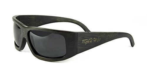 Tiger Paw - Sport Bamboo Sunglasses with Polarized Lenses (Wrap Arounds) (Black, - Ethical Sunglasses