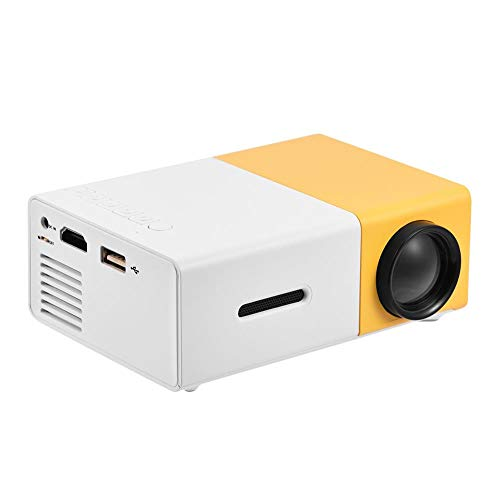 Mini Projector 1080P HD LED Multimedia Home Theater Projector HDMI, AV, USB Support for PS4 Laptop ipad iPhone Smartphone Game TV (White-Yellow)