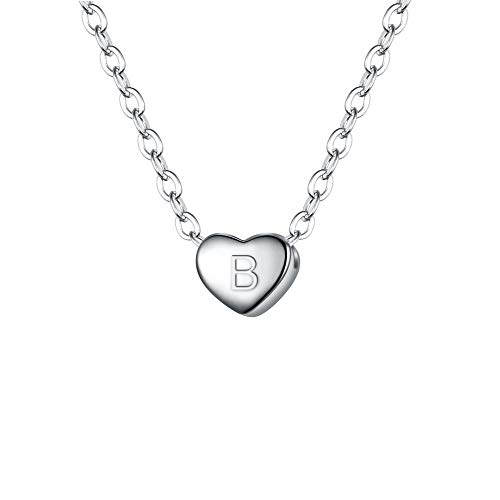 BriLove 925 Sterling Silver Tiny Initial Heart Necklace for Women Pendant Choker Necklace for Girls Letter B -