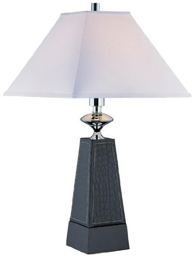 - Lite Source LS-21575 Table Lamp, Faux Leather with Off-White Fabric Shade