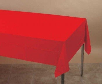 Classic Red Polylined Tablecloth (Classic Red Plastic Tablecover)